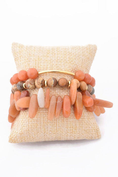 Orange and Natural Bracelet Stack