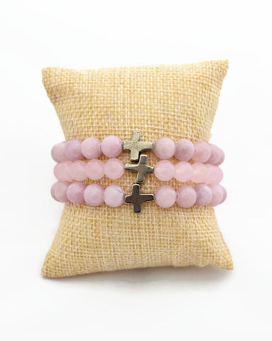 Pink Cross Stacking Bracelet