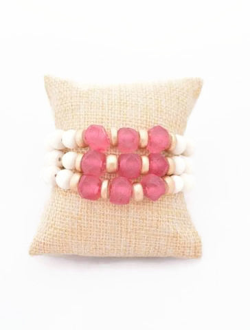 Pink Glass Stacking Bracelet