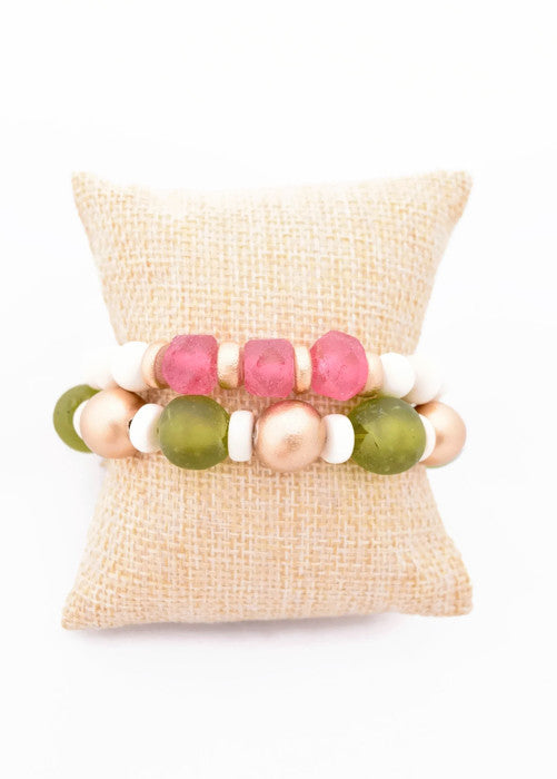 Pink and Green Glass Bracelet Stack