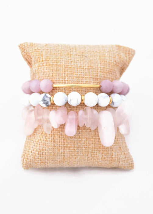 Pink and Marble Bracelet Stack