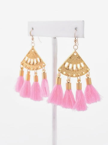 Presley Light Pink Boho Tassel Earrings