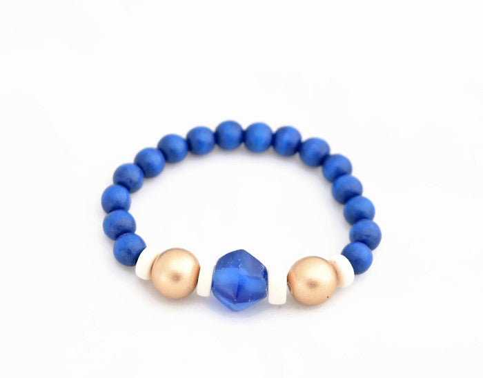 Royal Blue Gold Stacking Bracelet
