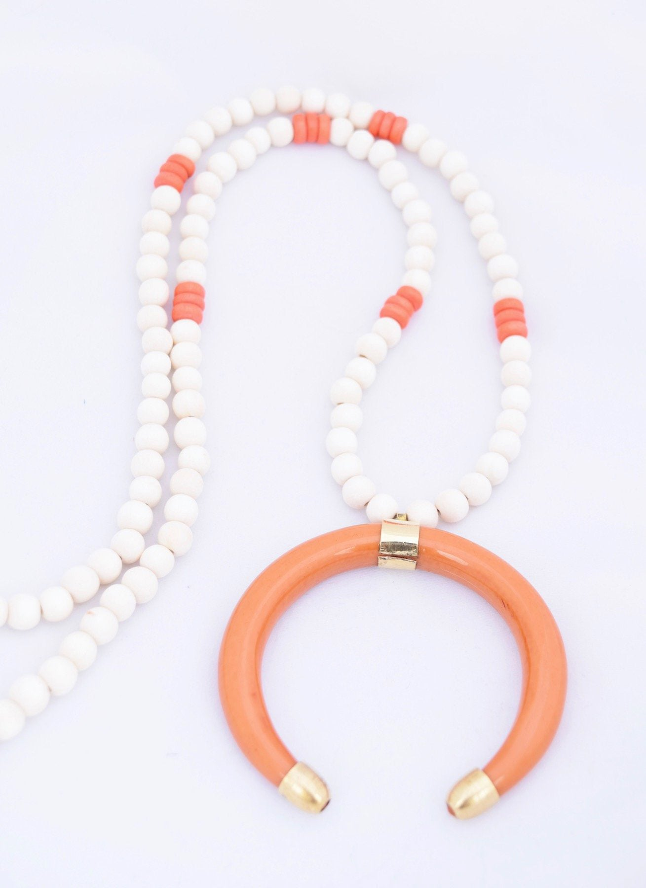 Orange and White Statement Necklace
