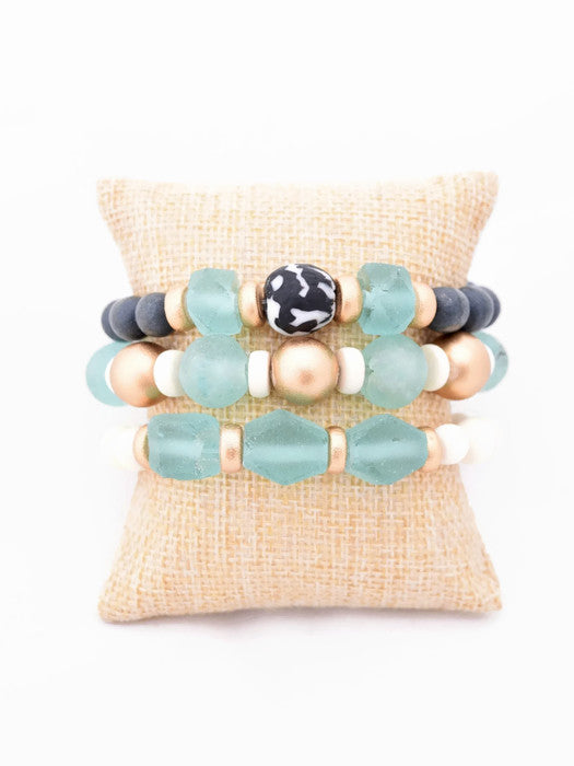 Turquoise and Gray Glass Bracelet Stack