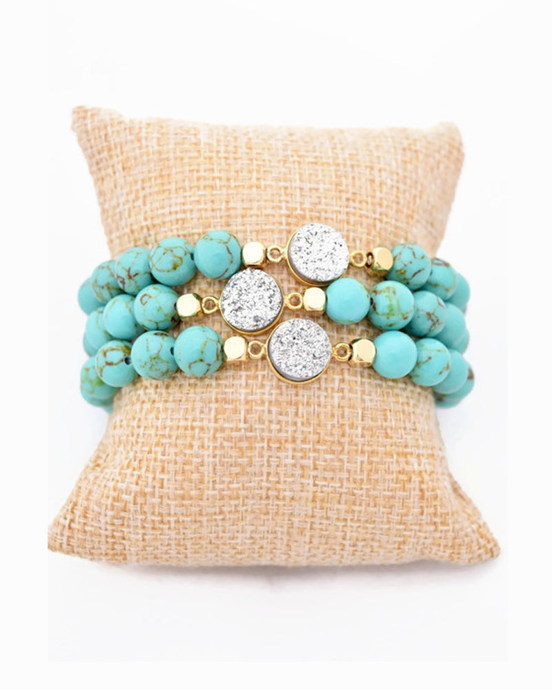 Turquoise and Silver Druzy Stacking Bracelet