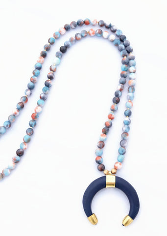 Blue Coral Beaded Necklace