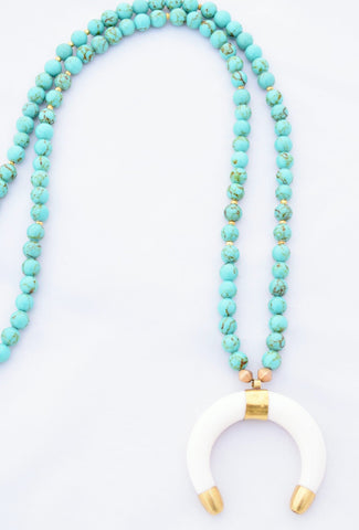 Vivian Turquoise Beaded Necklace with Ivory Crescent Horn