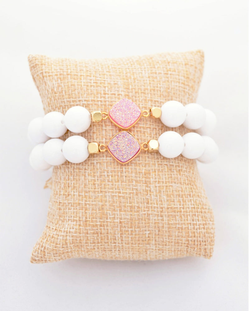 White and Pink Druzy Stacking Bracelet