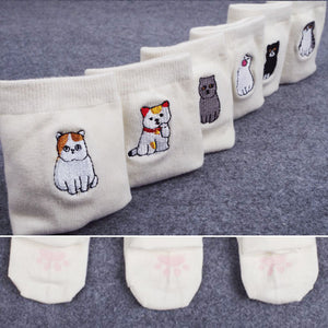 Cute Cat Embroided  Cotton Socks