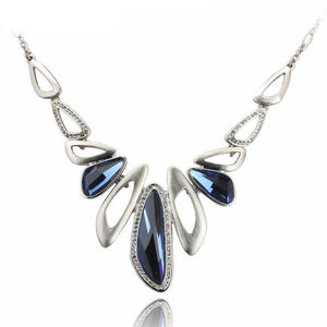 Blue Crystal Silver Color Pendant Necklace