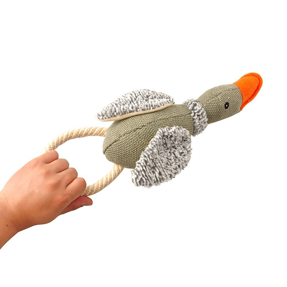Durable Duck Plush Dog Toy Squeak with Rope
