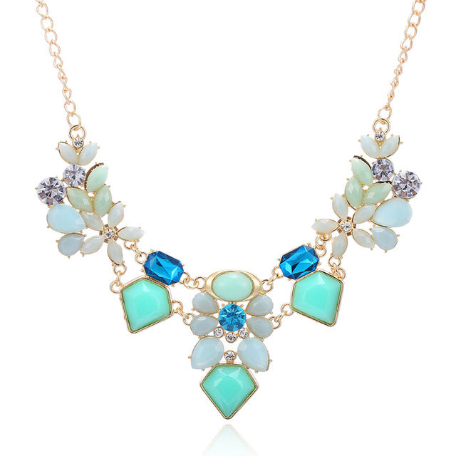 Fashion Colorful Cute Charm Gem Flower Choker Necklace