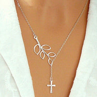 silver leaf cross pendant Necklace for women