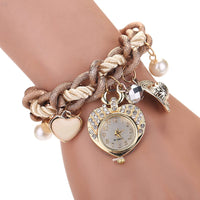 2017 Fashion Bracelet Watch Women Heart Pendant Clock Women Diamond Wrist Watch