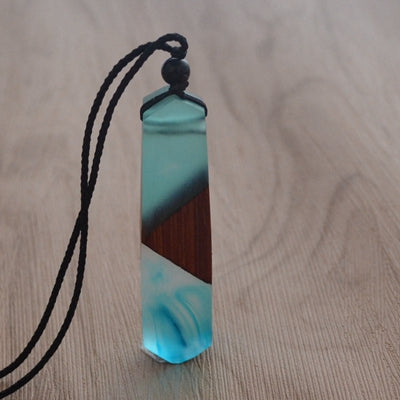 Blue wood resin necklace