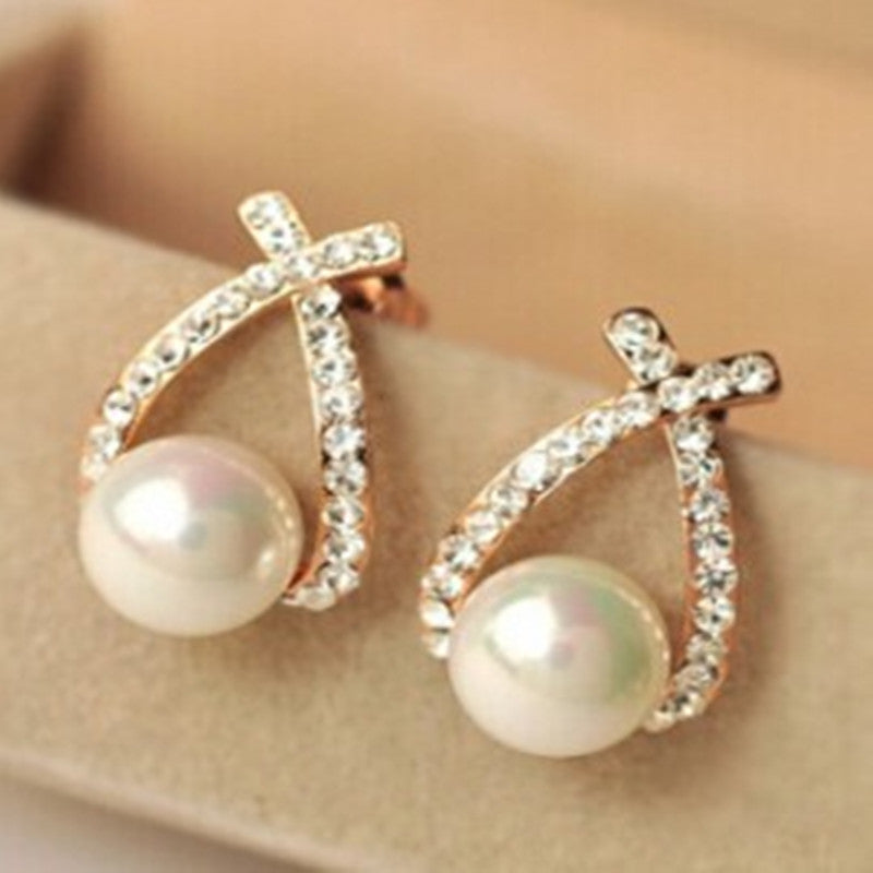 2017 Fashion New Cross pearl Earings