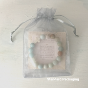 image of 'Thou Art With Me' Amazonite product package in it's standard packaging- Gray organza bag