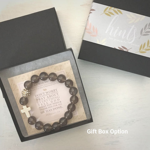 image of 'Thou Art With Me' Gray Agate Bracelet in gift box