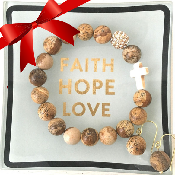close-up of the Faith Hope & Love Gift set with jewelry tray, natural stone bead bracelet and matching earrings