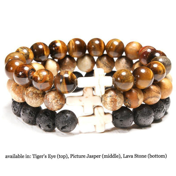 Women's Simple Natural Stone Bead Cross Bracelet