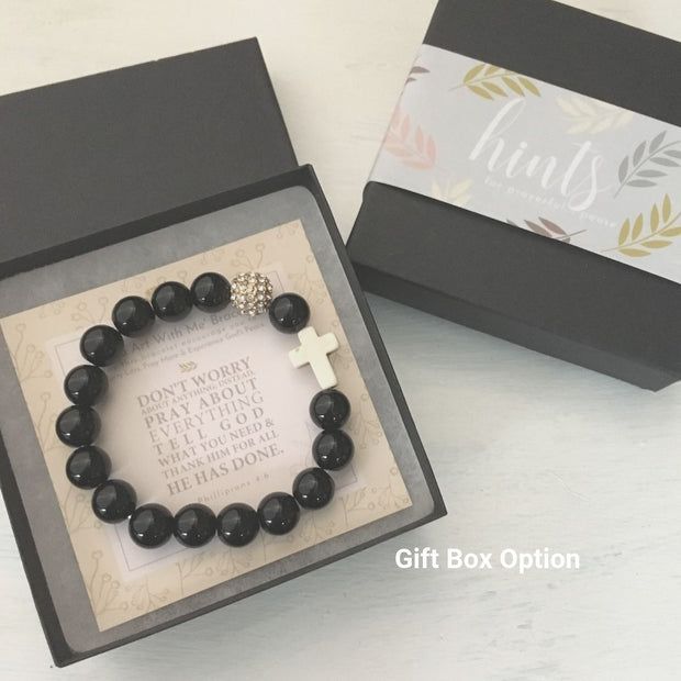 image of 'Thou Art With Me' Black Agate Bracelet in gift box
