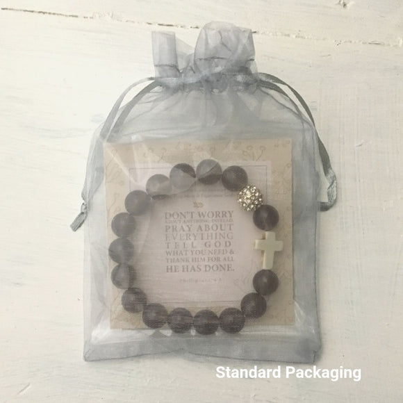 image of 'Thou Art With Me' product package in it's standard packaging-gray organza bag