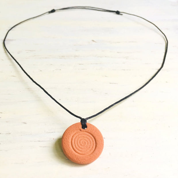 Spiral Terra Cotta Diffuser Necklace