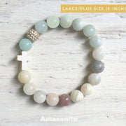 product top-view of the Natural Stone 'Thou Art With Me' Amazonite with Ivory Cross Bead Bracelet - Orignal style that has a sparkly pave ball - Plus size 8-inch