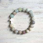 product top-view of the Natural Stone 'Thou Art With Me' Amazonite with Ivory Cross Bead Bracelet - Orignal style that has a sparkly pave ball