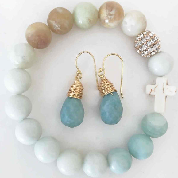 Flat Lay of Jewelry - New! Amazonite Teardrop Earrings pictured with the matching