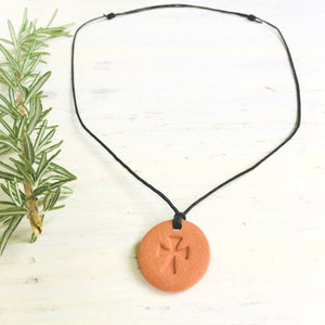 Blessed Cross Terra Cotta Diffuser Necklace