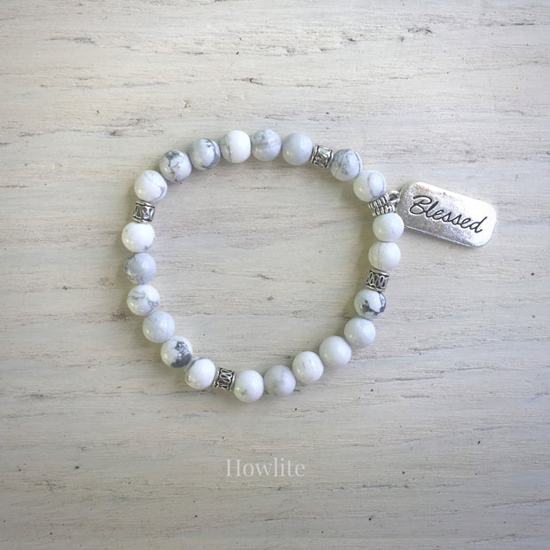 product top-view of Blessed Howlite Bracelet variant