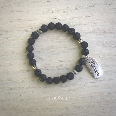 product top-view of Blessed Lava Stone Bracelet variant