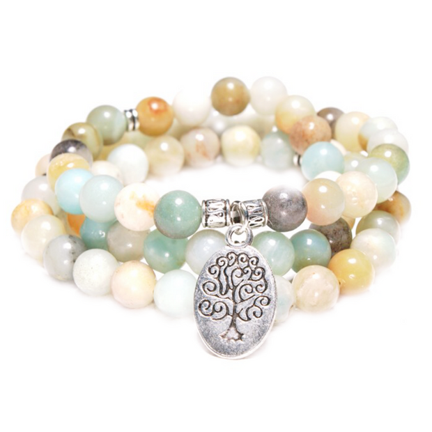 front view of the Tree of Life Wrap Amazonite Bead Bracelet on white background