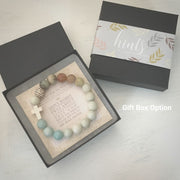 image of 'Thou Art With Me' Amazonite with Ivory Cross Bracelet in gift box