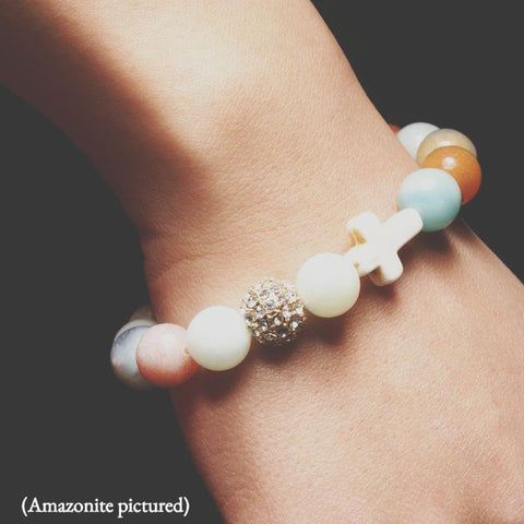 close-up of the Natural Stone 'Thou Art With Me' Amazonite on Model&