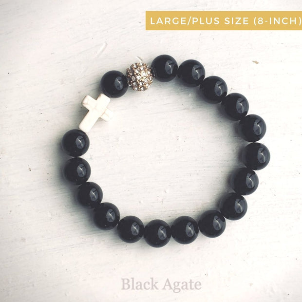 product top-view of the Natural Stone 'Thou Art With Me' Black Agate with Ivory Cross Bead Bracelet - Plus size 8-inch
