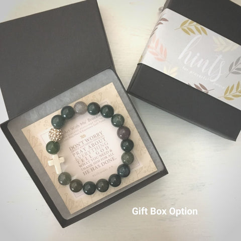 image of 'Thou Art With Me' Indian Agate Bracelet in gift box