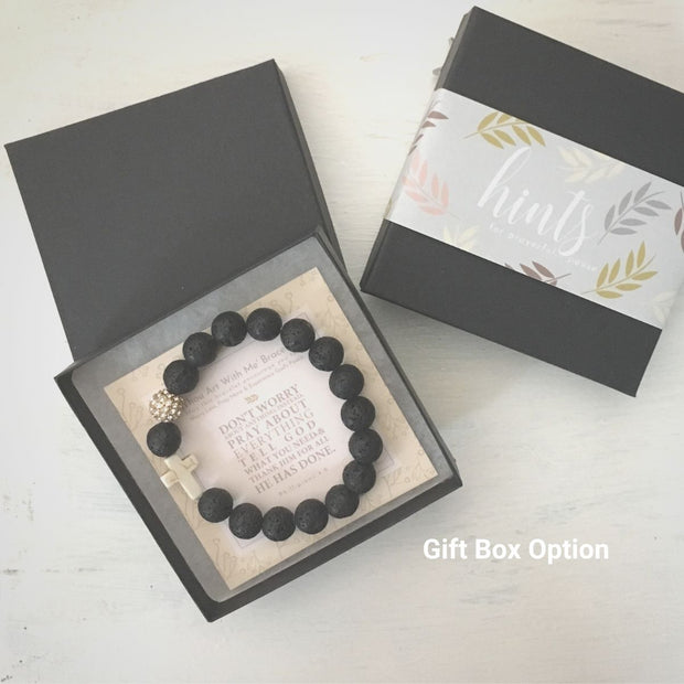 image of 'Thou Art With Me' Lava Stone Bracelet in gift box