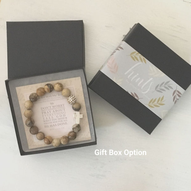image of 'Thou Art With Me' Picture jasper with Ivory Cross Bracelet in gift box