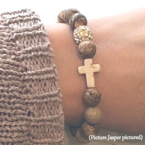 Natural Stone Bead & Cross Bracelets with Pave Ball