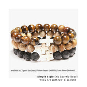 Photo of 3 Simple Style Natural Stone 'Thou Art With Me'  with Ivory Cross Bead Bracelet - in Tiger's Eye Lava Stone and Picture Jasper
