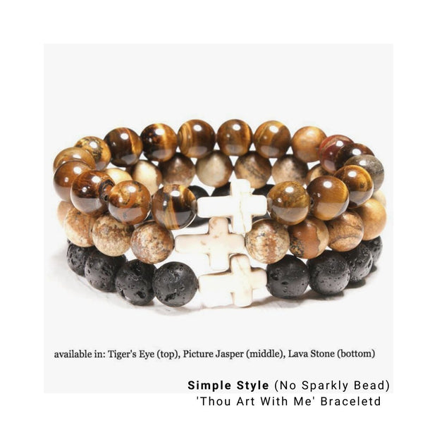 Photo of 3 Simple Style Natural Stone 'Thou Art With Me'  with Ivory Cross Bead Bracelet - in Tiger&