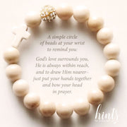 image of the back of the 'Thou Art With Me' scripture card that has the white fossil style bracelet depicted