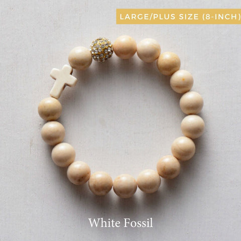 product top-view of the the 'Thou Art With Me' White Fossil  with Ivory Cross Bead Bracelet-Plus size-8-inch