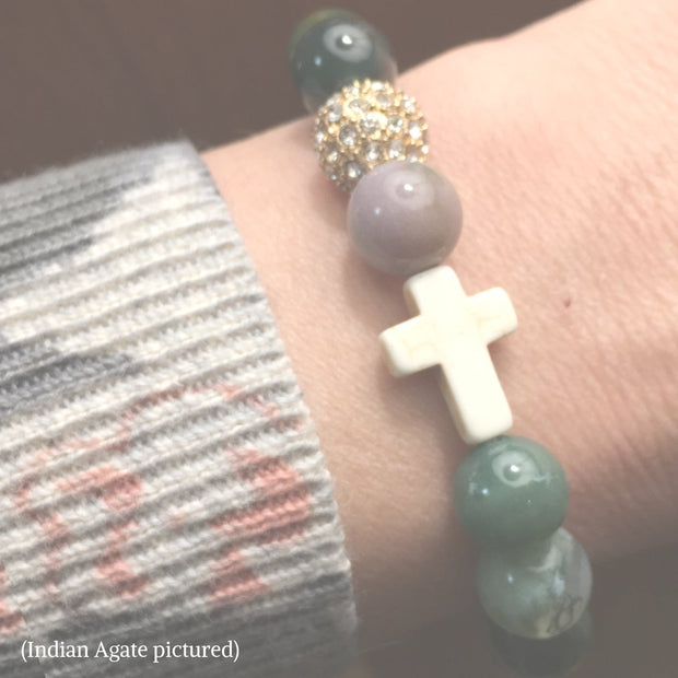 photo of the Natural Stone 'Thou Art With Me' Indian Agate with Ivory Cross Bead Bracelet on model&