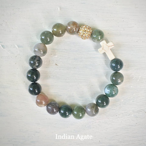 product top-view of the Natural Stone 'Thou Art With Me' Indian Agate with Ivory Cross Bead Bracelet