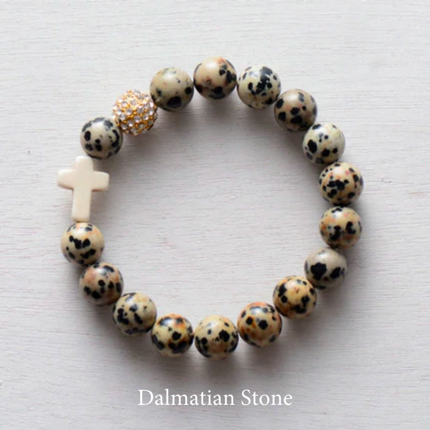 product top-view of 'Thou Art With Me' Dalmatian Stone with Ivory Cross Bead Bracelet