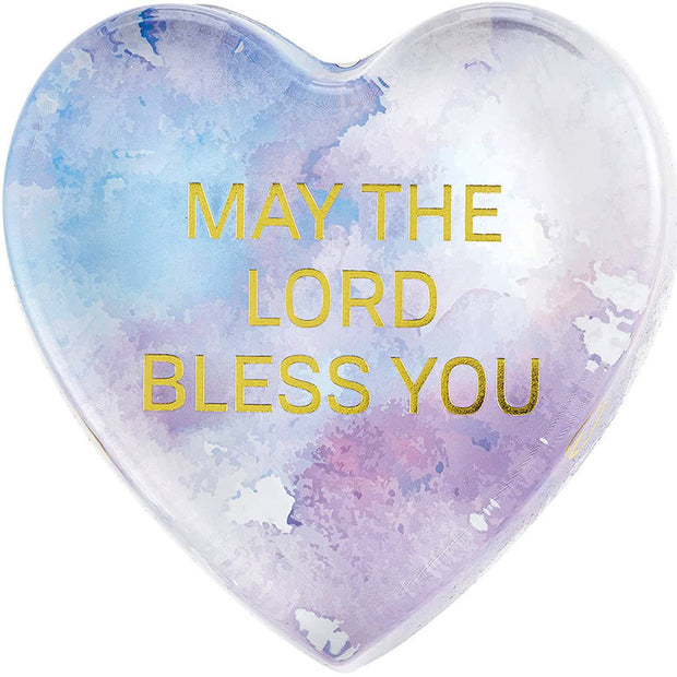 Close-up of the Lovely May God Bless You WaterColor Paperweight